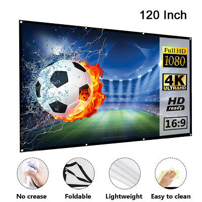 """100"""" & 120'' Portable Foldable Projector Screen 16:9 HD Home Theater 3D Movies"""