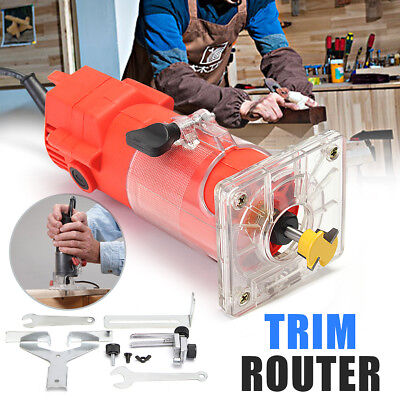 220V Electric Trim Router Woodworking Edge Molding Engraving Power Tool Set 1/4""