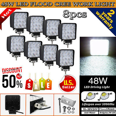 8PCS 48W CREE LED WORK LIGHT BAR FLOOD BEAM LAMP OFFROAD TRUCK FOG SUV UTE ATV
