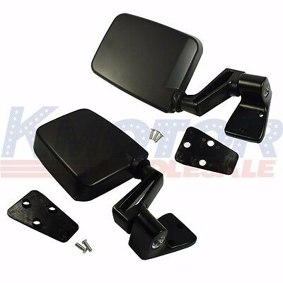 Black Left Right Pair Set Manual Side View Door Mirrors For Jeep Wrangler 87-02