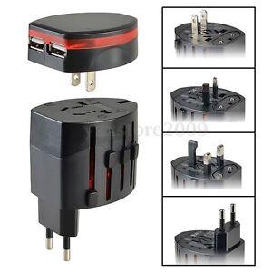 Reisestecker Reiseadapter UK/US/EU/AU Stecker 2 USB Ladegerät Adapter Universal
