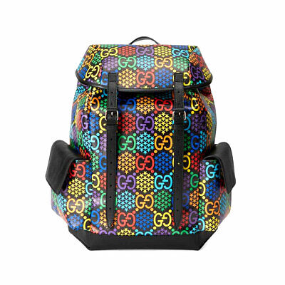 Gucci Medium GG Psychedelic Supreme Canvas Backpack Black Multi-Color AUTHENTIC