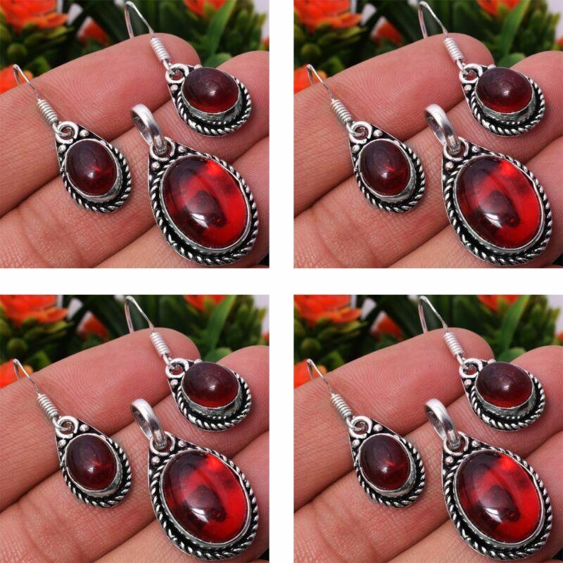 Garnet 2pcs 925 Sterling Silver Plated Pendant Earring Sets Jewelry