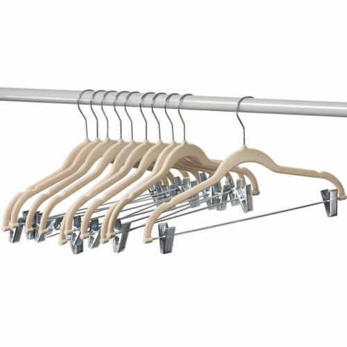 Clothes Hangers with clips IVORY Velvet Hangers, Skirt/pants Hangers, 10 Pack