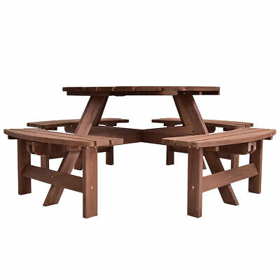 8 Seat Wood Picnic Table Beer Dining Seat Bench Set Ideal fo
