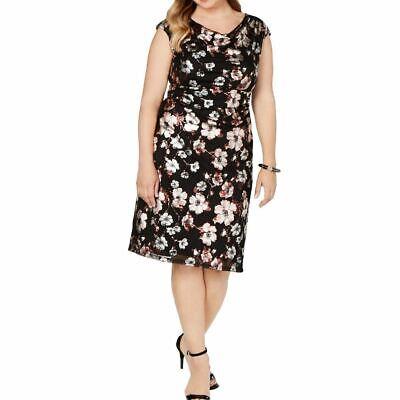 CONNECTED APPAREL Women's Plus Size Metallic-print Mesh Sheath Dress TEDO