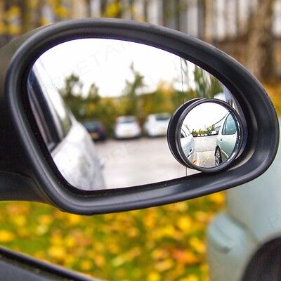 QUALITY ADHESIVE 2 ROUND BLIND SPOT WIDE ANGLED MIRROR Easy Fit Car Wing Safety