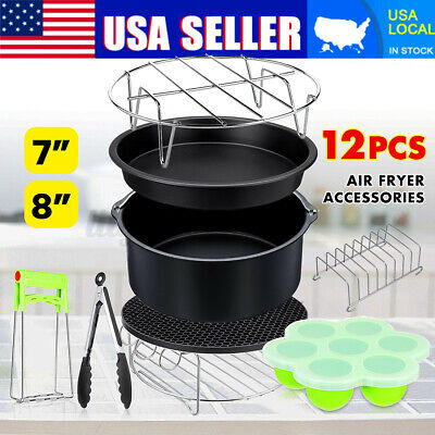 12x 7'' - 8'' Air Fryer Accessories Set Cake Barrel Rack For Philips