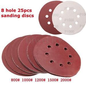 "25x 5"" 8 Hole Polishing Sandpaper  Sanding Discs 800 1000 1200 1500 2000 Grit"