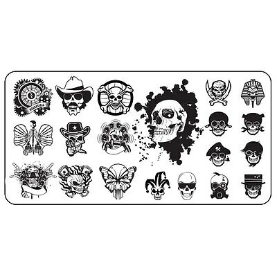 XL Stamping Schablone Skull Totenkopf Nailart Gothic Skull Halloween Platte #6 ()