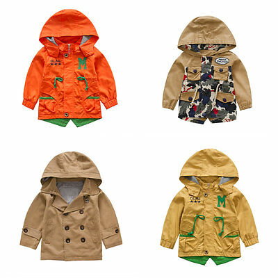 oat Wind Coat Double Breasted/ Zip Up Jacket Size 1-6 Years (Toddler Boy Trenchcoat)