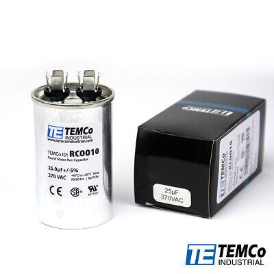 TEMCo 25 uf/MFD 370 VAC volts Round Run Capacitor 50/60 Hz -Lot-1