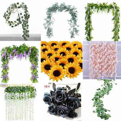 Artificial Plants Flower Greenery Wreath Garland Faux Silk Vines Wedding Decor - Silk Flower Wreaths