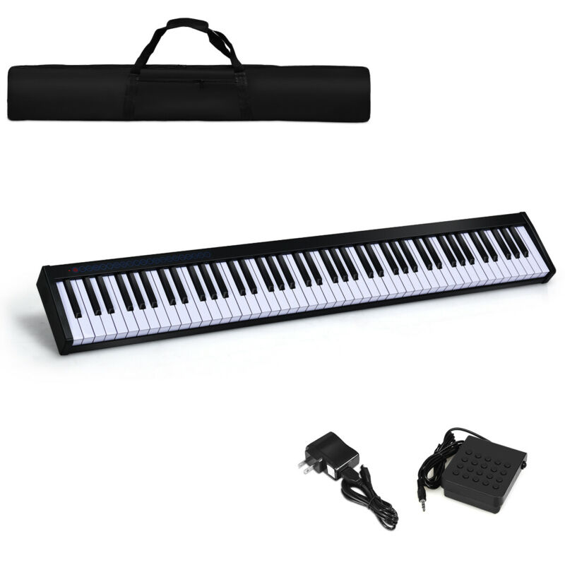 88 Key Digital Piano Portable MIDI Keyboard Bluetooth w/ Pedal & Bag Black