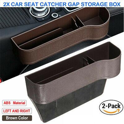 2X Car Seat Gap Catcher Filler Storage Box Pocket Organizer Holder ABS Brown SUV