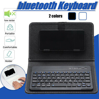 Mini Portable Leather Wireless bluetooth Keyboard for iPhone Android  US