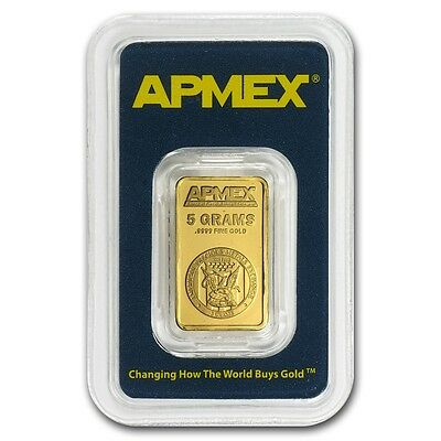 5 gram APMEX Gold Bar - Tamper Evident Packaging - SKU #63283