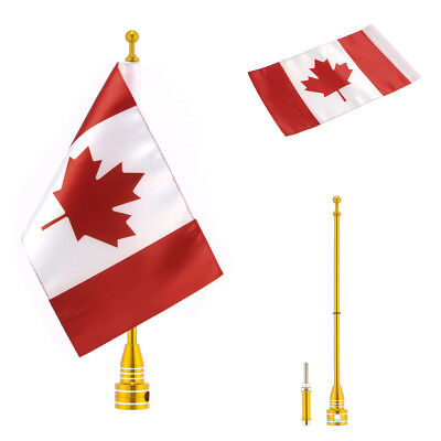 "Gold Pole Mount 6""x 9"" Canada Flag For Harley Honda Yamaha Most Motorcycles"
