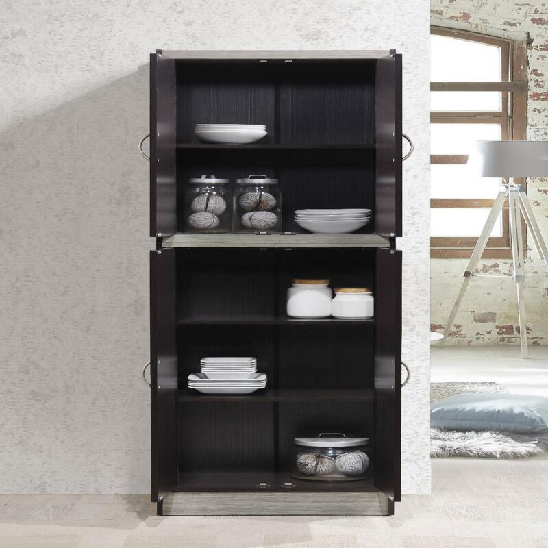 Kitchen Pantry Storage Shelves Plates Bowls Dishes Food 4-Door Organizer Cabinet