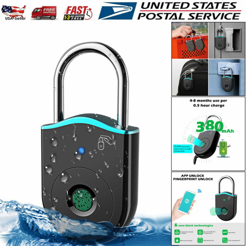 Fingerprint Padlock Bluetooth Mobile APP Smart Door Lock Waterproof Anti-Theft