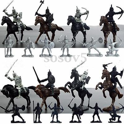 28PCS Medieval Knights Warriors Horses Kids Toy Soldiers Figures Model Playset