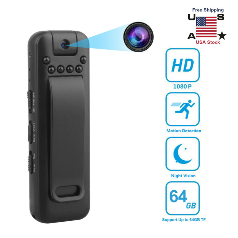 1080P HD Video DVR IR Night Cam 8-hour Camcorder Mini Police Body Camera