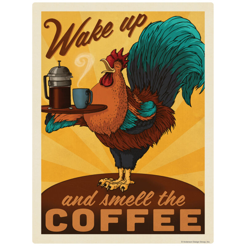Smell the Coffee Rooster Decal 26 x 34 Peel and Stick Kitchen Decor