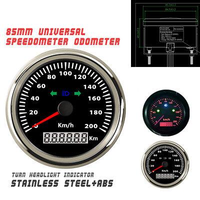 Red Backlight 85mm Car Truck Motorcycle GPS Speedometer 200km/h Waterproof IP67