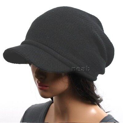 BRIM BEANIE VISOR chic unisex Hats knit fall Cap men womens cadet 1035 Charcoal - Womens Visor Knit Hat