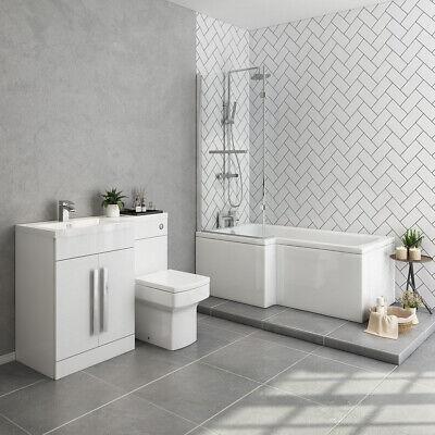 Bathroom Suite Left Hand L Shape Shower Bath Left Basin Vanity Toilet Furniture