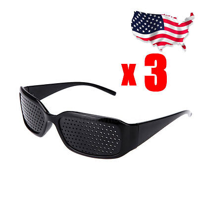 3 Glasses Exercise Eye Care Pinhole Pin Hole Vision Improve Eyewear Eyesight