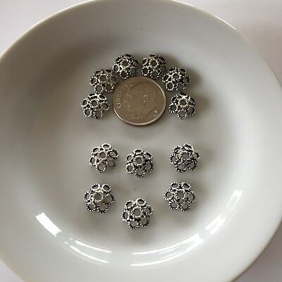 Bali Style Bead Cap - 12pc Bead Cap Sterling Silver 9.5mm Bali Style Wire Flower Wholesale (bc13-12)
