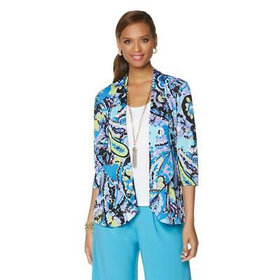 3/4 Sleeve Printed Jacket (Slinky Brand Womens 3/4 Sleeve Printed Cardigan Jacket Blue Multi Small Size)