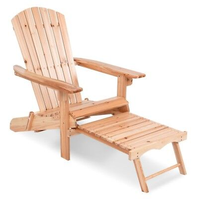 Outdoor Patio Foldable Wood Adirondack Chair w/ Pull Out Ottoman Deck Furniture
