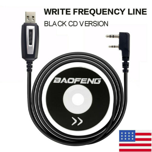 Programming Cable 2 Pin USB +Software CD For Baofeng UV-5R BF-888S Two Way Radio