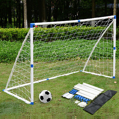 6X4FT Football Soccer Goal  Post PVC Set W/ Net Sports Training Match W/Carrybag