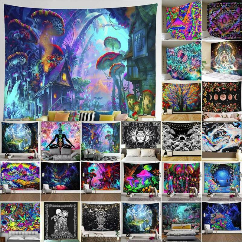 Home Decoration - Hippie Trippy Psychedelic Tapestry Wall Hanging Blanket  Home Bedroom Room Decor