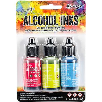 Tim Holtz Alcohol Ink .5oz 3/Pkg Dockside Picnic-Watermln/Citrus/Sailboat #10