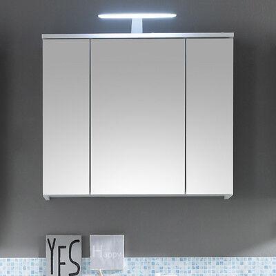 Spiegelschrank Spice Badezimmer Bad Schrank Regal weiß mit LED-Beleuchtung