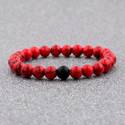 Women Men Natural Red Agate   Black Matte Onyx Bead Distance Valentines Gifts