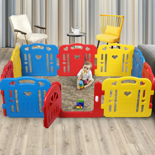 Baby Playpen 10 Panel Toddler Foldable Safety Play Center Yard Fence Indoor