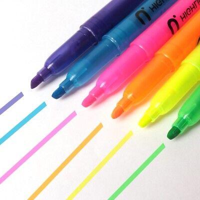 HIGHLIGHTER MARKER PEN SET Fluorescent Bright Vivid Neon Pocket Chisel Tip Nib