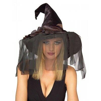 Black Rose Witch Hat Costume Accessory Adult Halloween