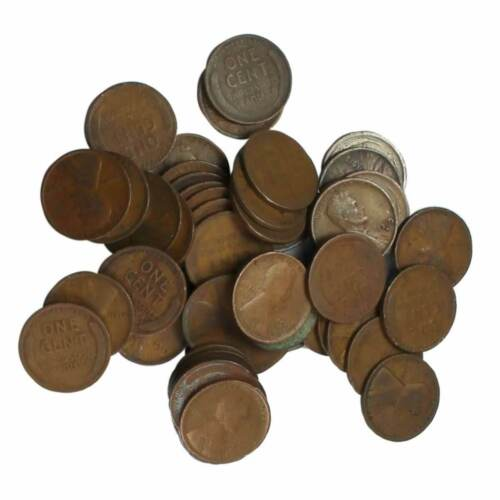 50 Coin Roll Lot Of 1910-1919 Lincoln Wheat Cent 95% Copper USA Made Pennies
