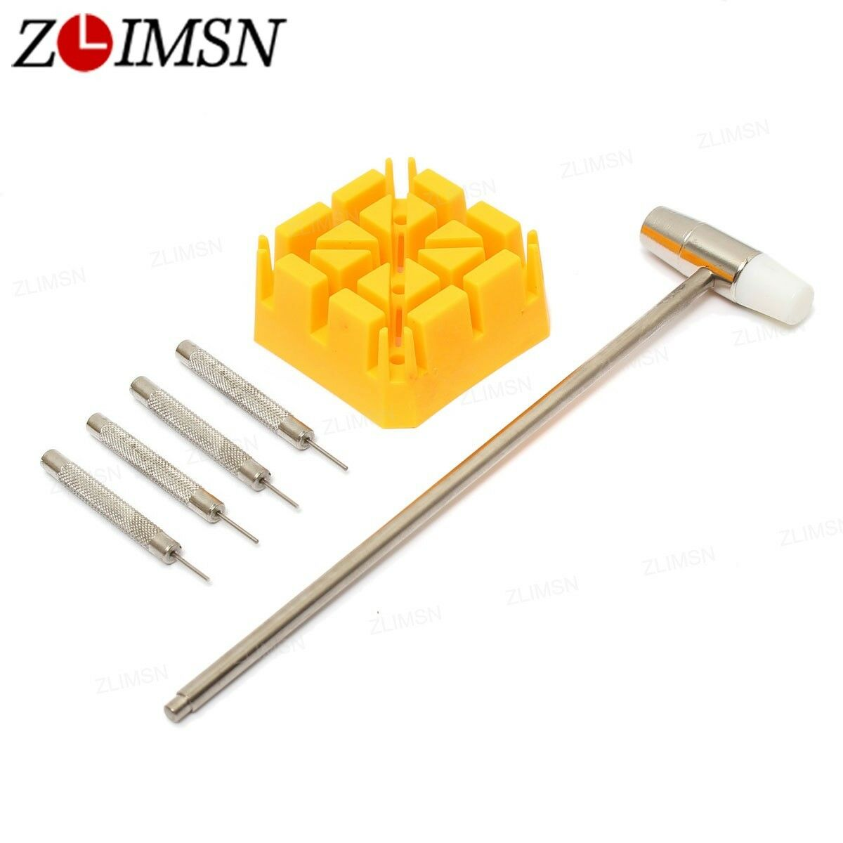 6 in 1 Set Watch Repair Band Link Remover Tool Kit Hammer Punch Pin Strap Holder