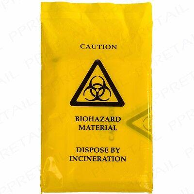 100x LARGE BIOHAZARD DISPOSAL SEAL BAG 35cmx20cm Clinical Waste Yellow Bin Sack