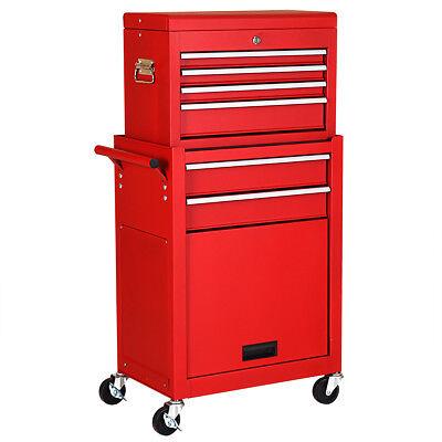 2 in 1 Rolling Bureau Storage Chest Box Garage Toolbox Organizer w/ 6 Drawers