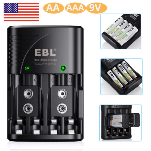 Rapid Smart Battery Charger for AA AAA 9V NiMH NiCD Rechargeable Batteries(3in1)
