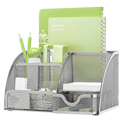 Hgmart Desk Organizer Mesh Collection Pencil Holder 6 Compartments Silver