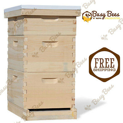 Langstroth Bee Hive 8 Frame 2 Deep 1 Medium (Includes all Frames & Foundations)